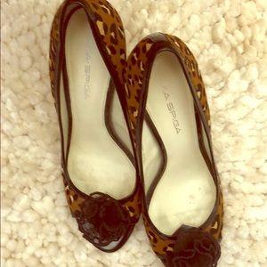 Hi heel animal print shoes